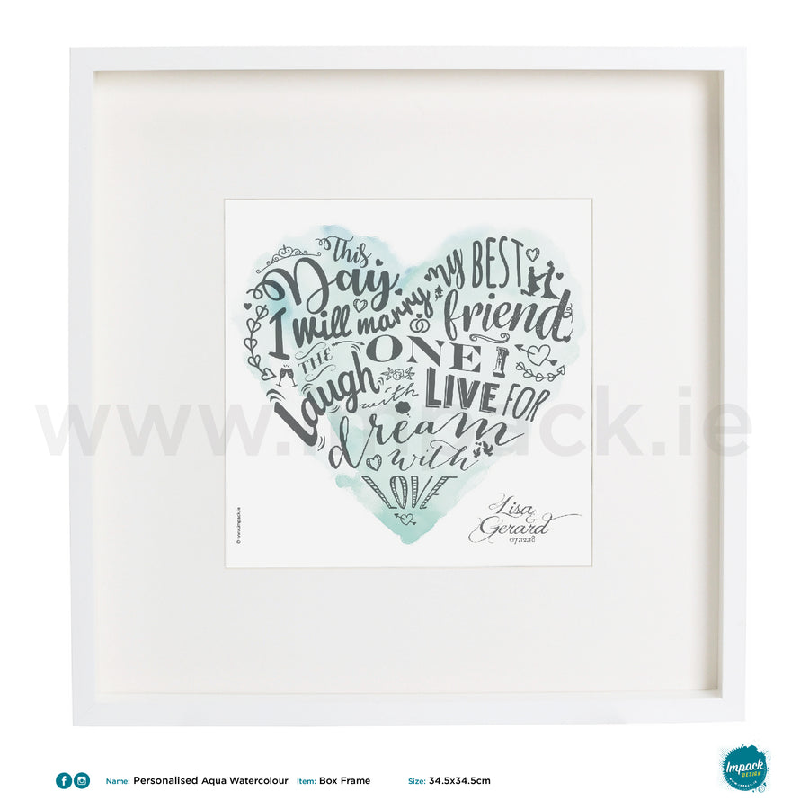 'Aqua Watercolour', PERSONALISED framed or unframed - Wall art print