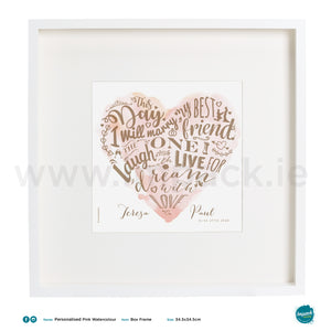 'Pink Watercolour', PERSONALISED framed or unframed - Wall art print