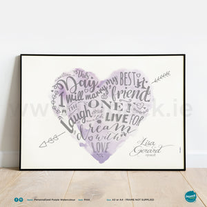 'Purple Watercolour', PERSONALISED framed or unframed - Wall art print