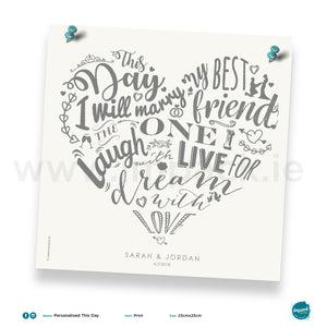 'This day...', PERSONALISED framed or unframed - Wall art print