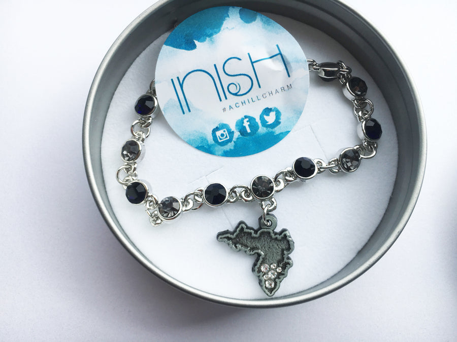 Inish Dark Diamanté Bracelet featuring Achill Island shaped Charm