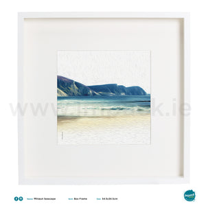 'Seascape Oil Minaun', Print in a white box frame