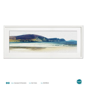 'Seascape Oil Minaun', Panoramic Print in a 100x40cm white box frame