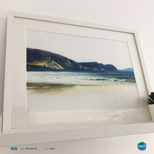 'Seascape Oil Minaun', Print in a 52x42cm white box frame