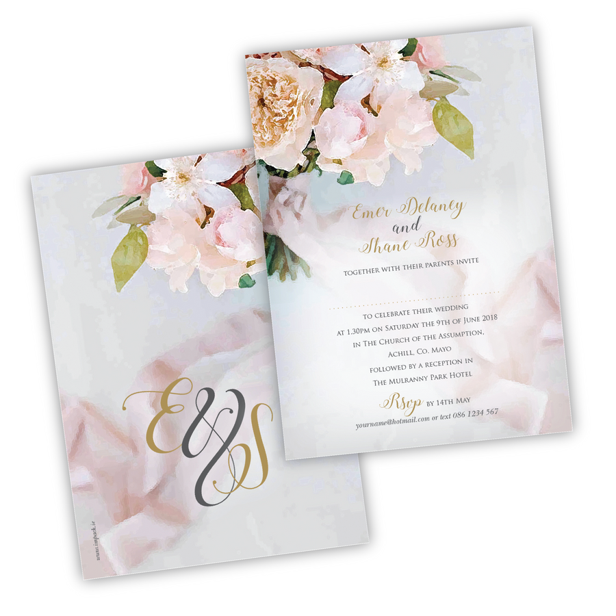 Wedding Invitation - Floral Watercolour - 100 invitations