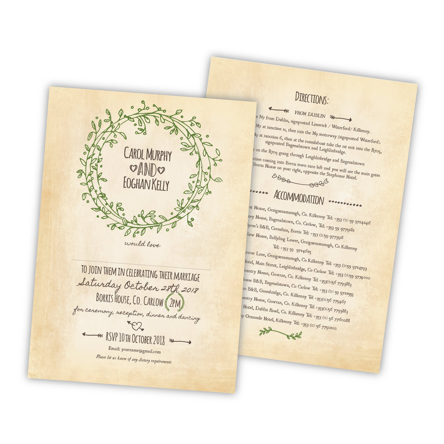 Wedding Invitation - Vintage Vines - 100 invitations