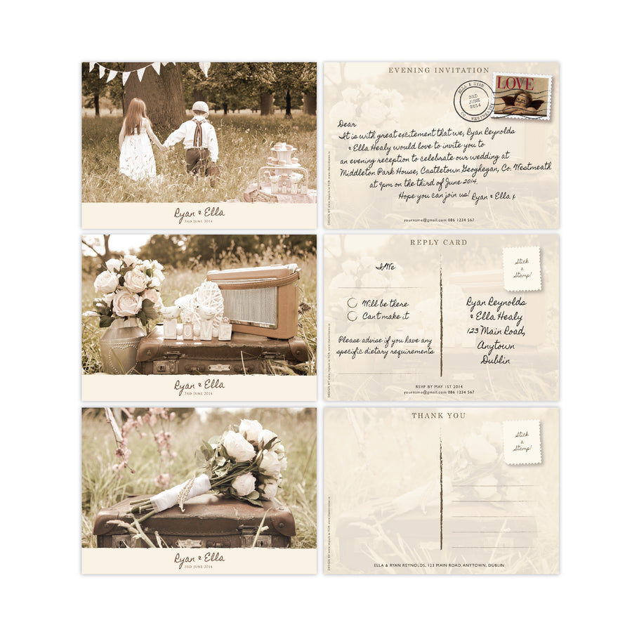 Wedding Invitation - Vintage Love - 100 invitations