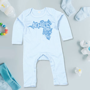 Baby Romper Suit - Blue with Achill Island logo