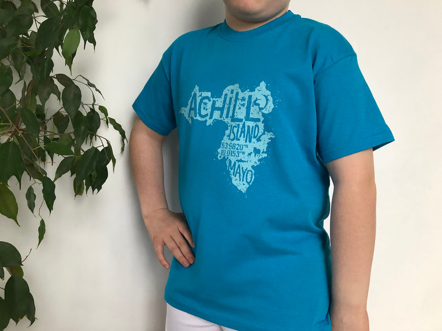 Kids Short Sleeve T-Shirt - Azure Blue - Unisex
