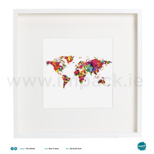 'The World', Art Splat Print in a white box frame
