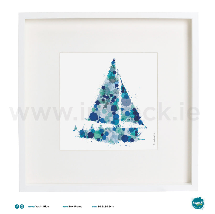 'Yacht Blue', Art Splat Print in a white box frame
