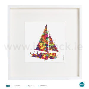 'Yacht Colour', Art Splat Print in a white box frame
