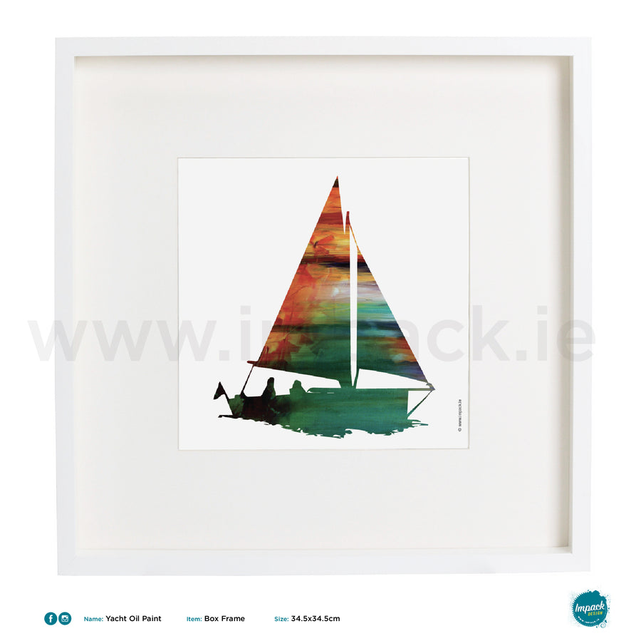 'Yacht Oil Paint', Art Splat Print in a white box frame