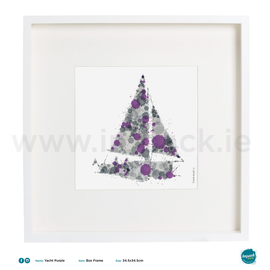 'Yacht Grey Purple', Art Splat Print in a white box frame