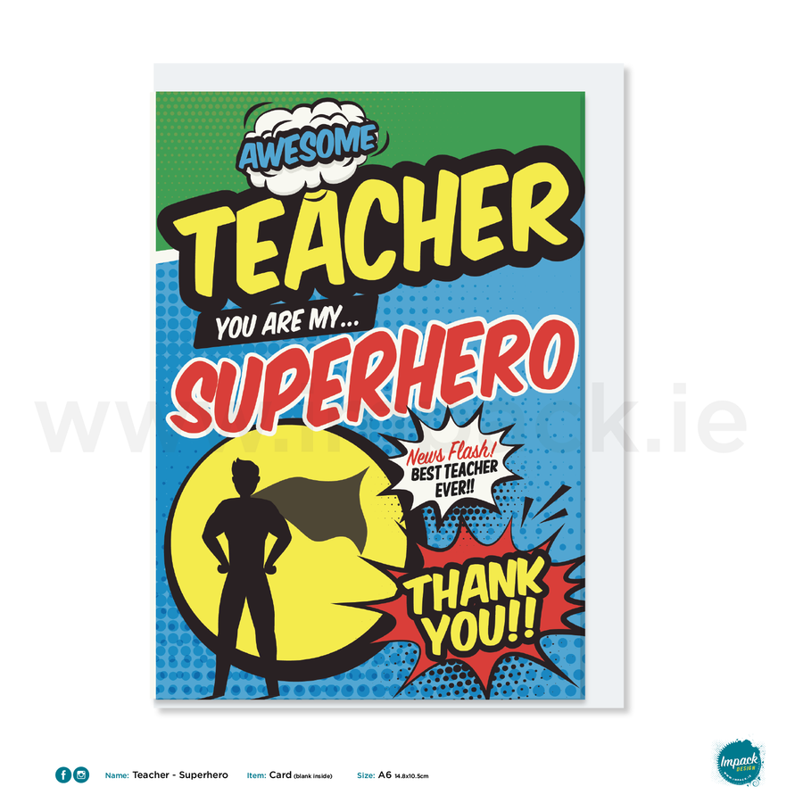 Greetings Card - Teacher - Superhero Blue
