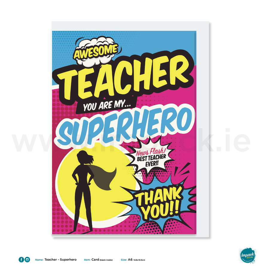 Greetings Card - Teacher - Superhero Pink