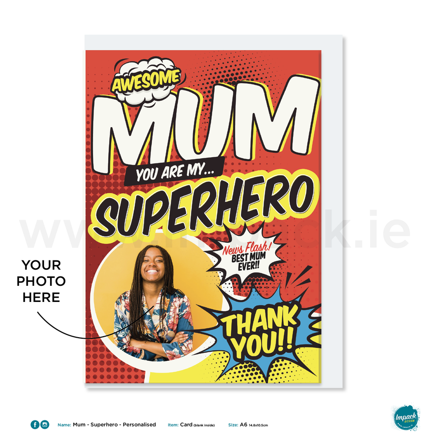 Greetings Card - Mothers Day - Superhero Mum - Personalised with your own image