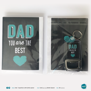 Greetings Card with Bottle Opener Keyring - Fathers Day - Best Dad (includes ROI postage)