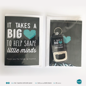 Greetings Card with Bottle Opener Keyring - Teacher - Thank you (includes ROI postage)