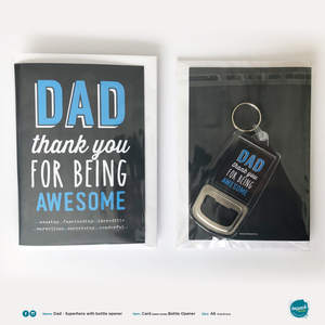 Greetings Card with Bottle Opener Keyring - Fathers Day - Awesome Dad (includes ROI postage)