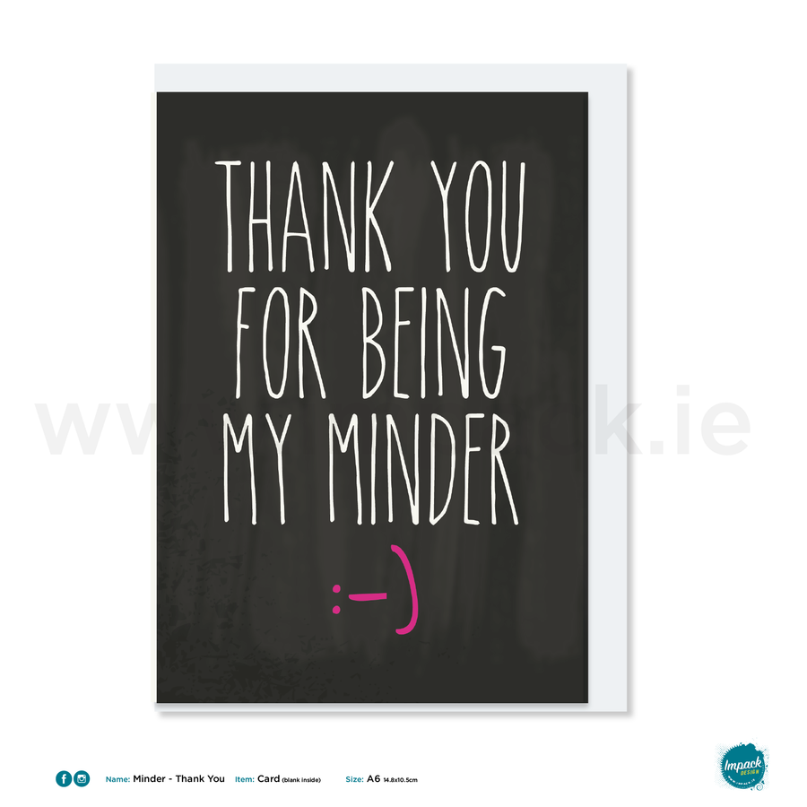 Greetings Card - Minder - Thank you