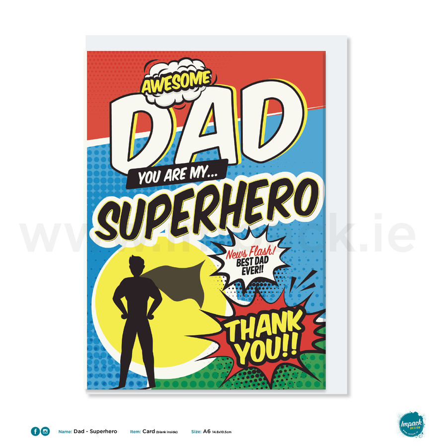 Greetings Card - Fathers Day - Superhero Dad