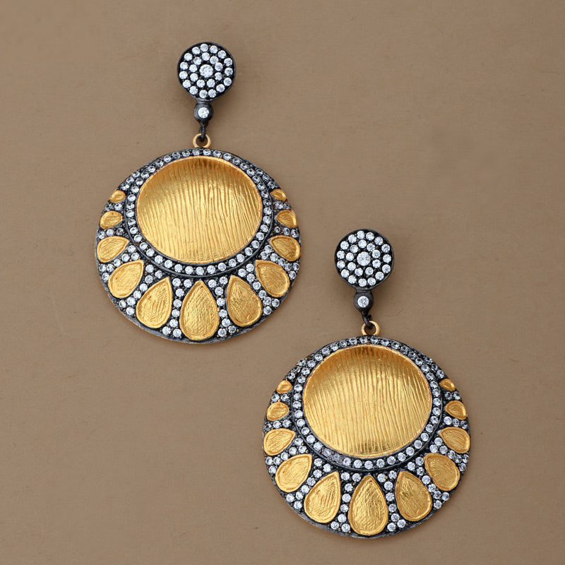 TWO TONE DISC EARRING