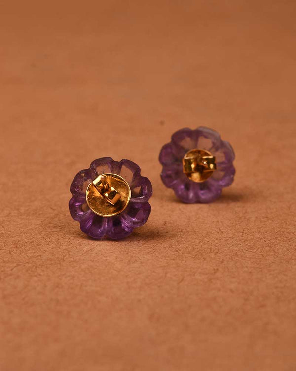 CARVED AMETHYST MELON STUDS
