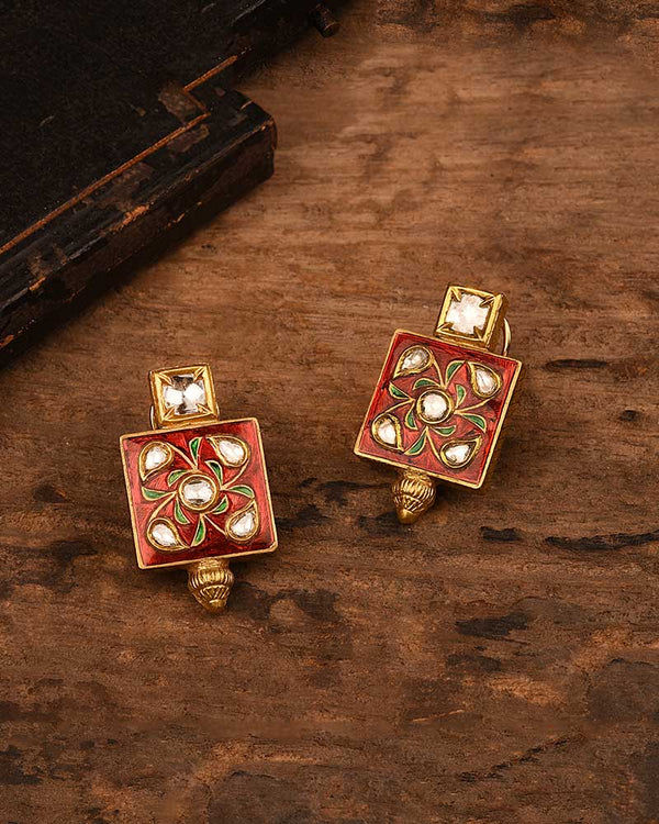 18/24KT GOLD RED ENAMEL STUDS