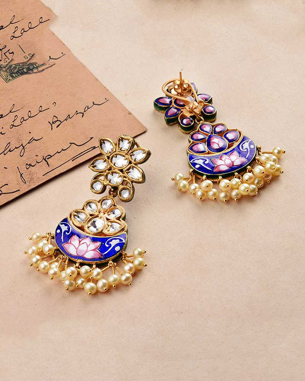 NEELKAMAL GOLD POLKI EARRINGS