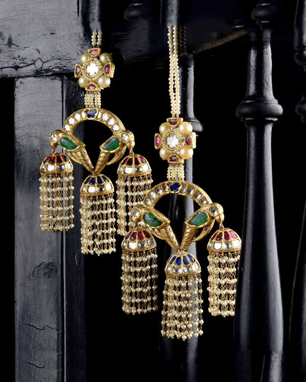 24KT GOLD TWIN BIRD JHOOMAR EARRING