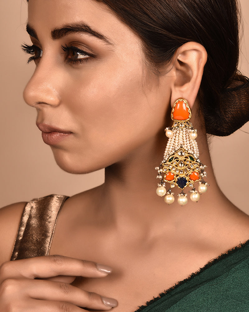 GOLD AND SILVER COMBINATION EARRINGS WITH CORALS AND POLKIS