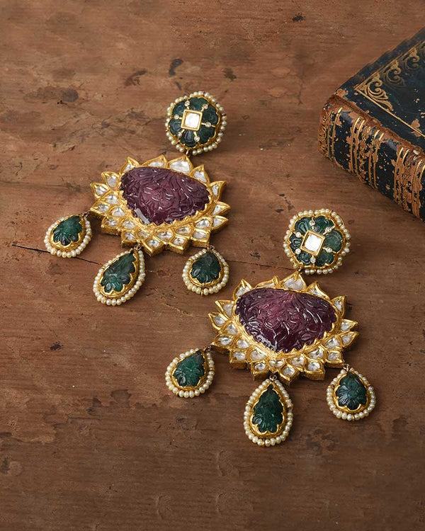 24KT GOLD EARRING CARVED RUBELITE AND EMERALD DROPLETS
