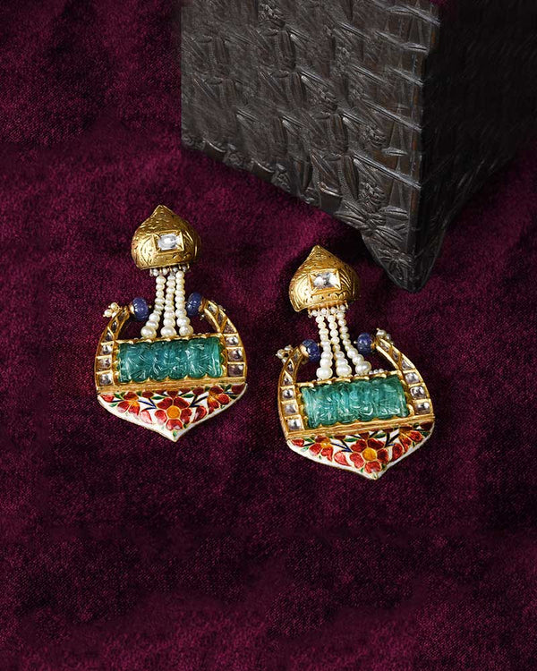 Carved Aqua Earrings with Enamel and Partaash