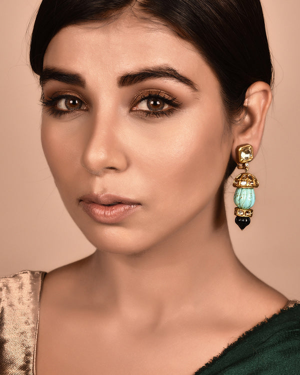 24KT GOLD EARRING CARVED TURQUOISE AND BLACK ONYX EARRINGS WITH GOLD AND POLKI