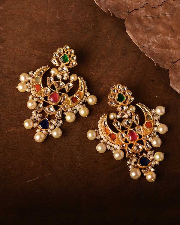 18/24KT GOLD NAVRATAN EARRINGS