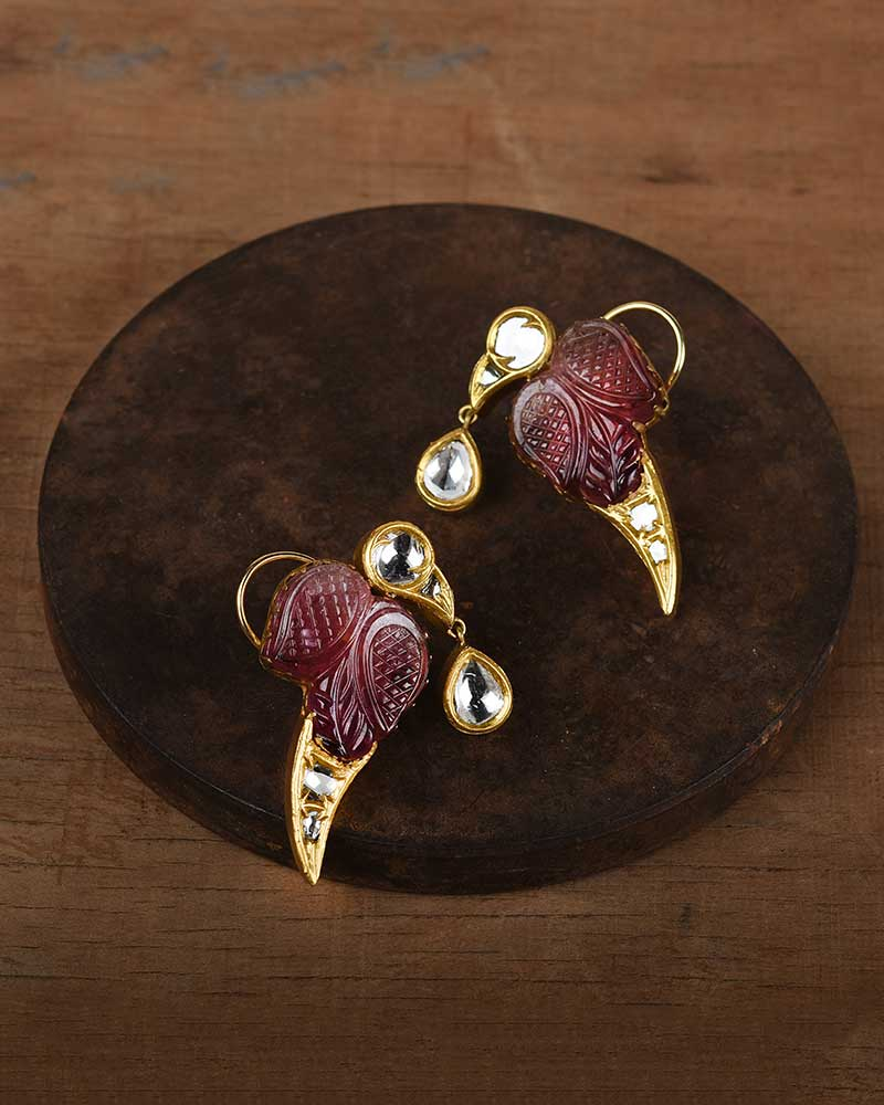CARVED TOURMALINE PARROT EARRINGS