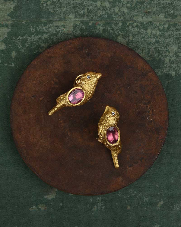 18/24KT GOLD WITH PINK TOURMALINE BIRD EARRINGS