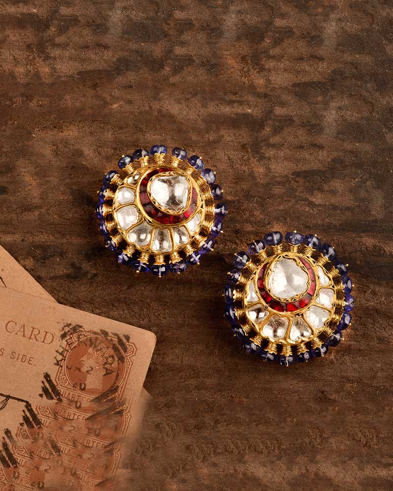 18/24Kt GOLD STUDS WITH RUBY & TANZANITE
