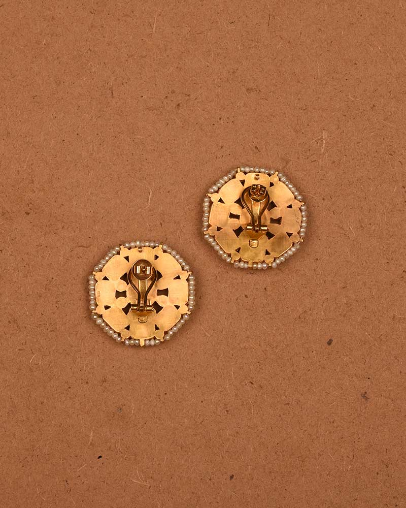 NAVRATNA WHEEL EAR STUDS