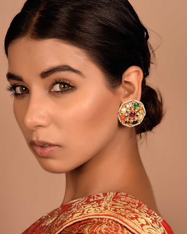 NAVRATNA WHEEL GOLD EAR STUDS