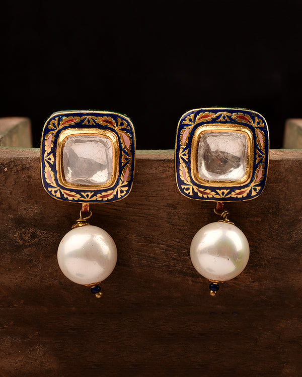 22KT GOLD ENAMEL POLKI STUDS, EPITOME OF STATEMENT LUXURY