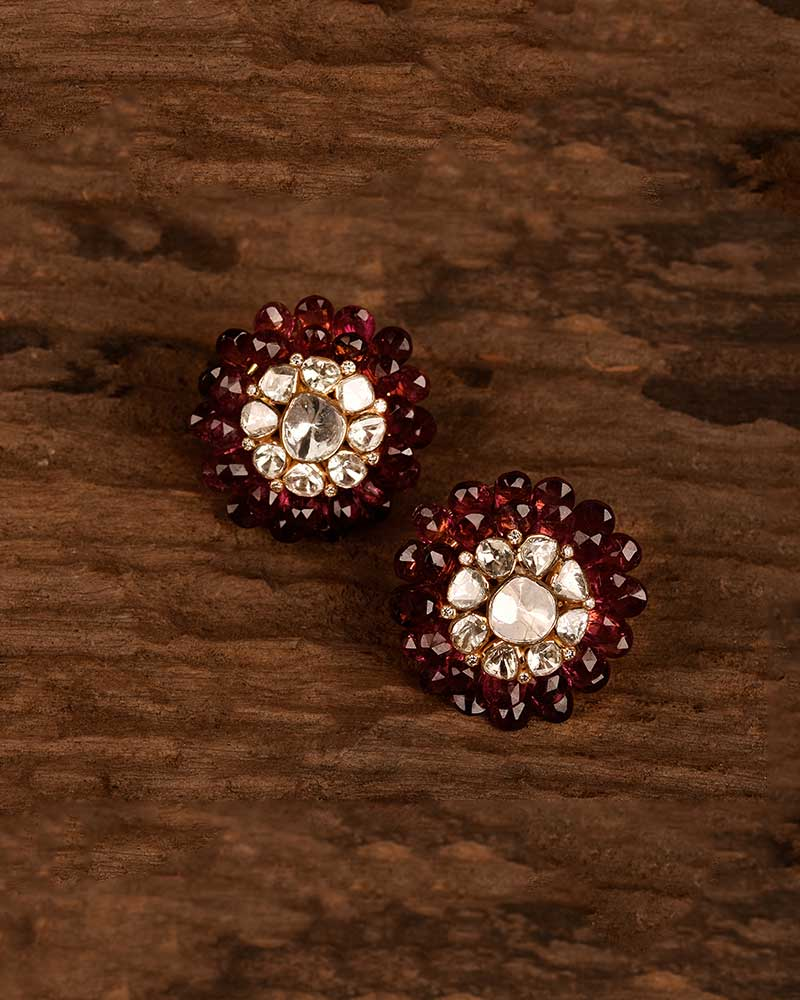 FACETED TOURMALINE AND POLKI STUDS