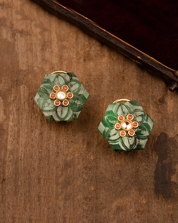 HEXAGONAL GOLD AND EMERALD STUDS