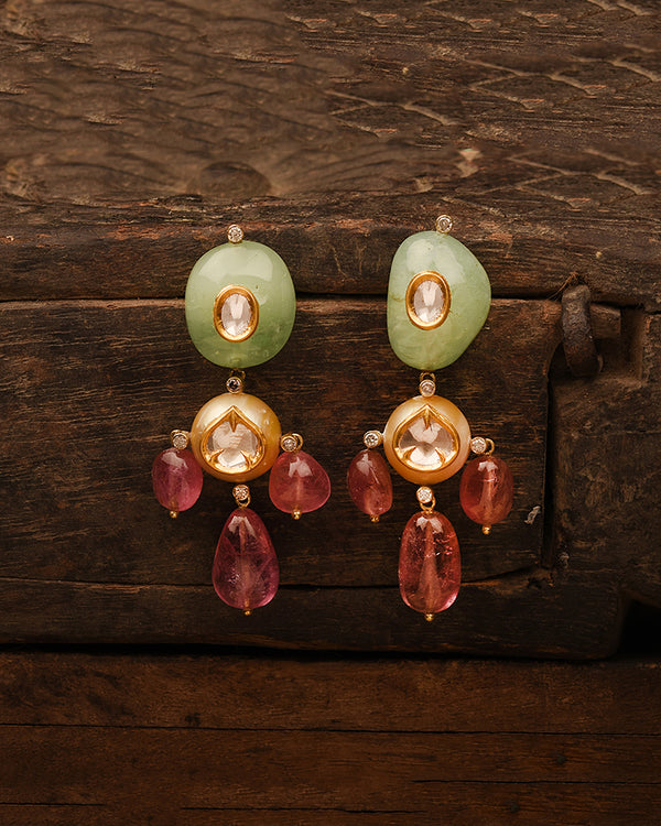 PASTEL EMERALD AND POLKI EARRINGS
