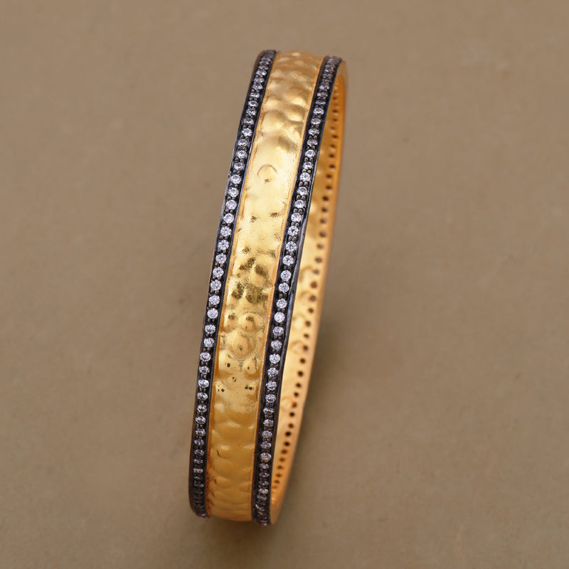 TWO TONNED TEXTURED CZ BANGLE