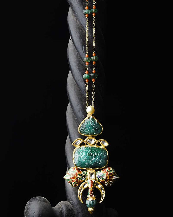 CLASSIC EMERALD AND ENAMEL PENDANT IN 18/24KT GOLD