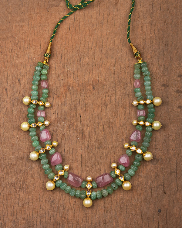 24 KT GOLD NECKLACE -CARVED EMERLAD MELON WITH PINK TOURMALINE TUMBLES