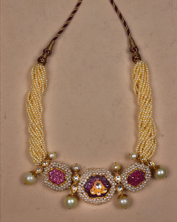 PEARL AND RUBY PENDANT IN GOLD WITH POLKIS
