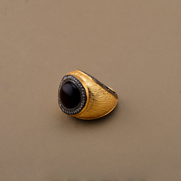 HAND TEXURED BLACK ONYX RING